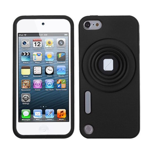 MyBat Camera Style Stand Pastel Skin Cover (with Lanyard) for Apple iPod touch (5th generation) - Black