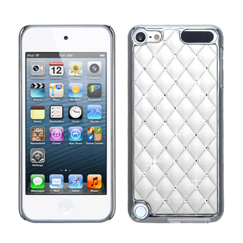 MyBat Plating Luxurious Lattice Alloy Elite Dazzling Back Protector Cover with Diamonds for Apple iPod touch (5th generation) - Ivory White Silver