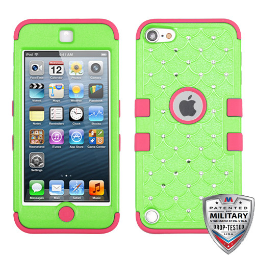 MyBat FullStar TUFF Hybrid Protector Cover [Military-Grade Certified] for Apple iPod touch (5th generation) - Natural Pearl Green / Electric Pink