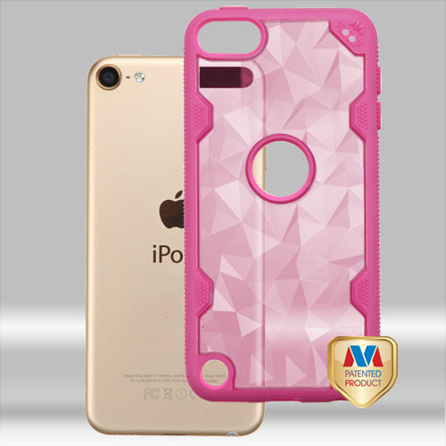 MyBat Challenger Hybrid Protector Cover for Apple iPod touch (6th generation) - Transparent Rose Gold Polygon / Hot Pink