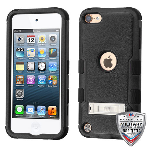 MyBat TUFF Hybrid Protector Cover (with Stand)[Military-Grade Certified] for Apple iPod touch (6th generation) - Natural Black / Black