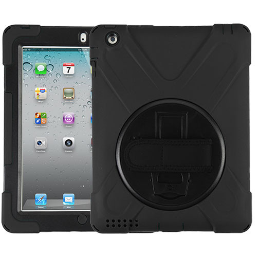 MyBat Rotatable Stand Protector Cover (with Wristband) for Apple The new iPad - Black / Black