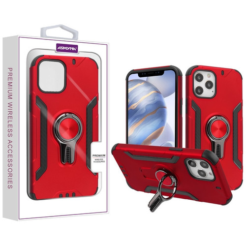 Asmyna Hybrid Protector Cover (with Ring Stand) for Apple iPhone 12 (6.1) - Red / Black