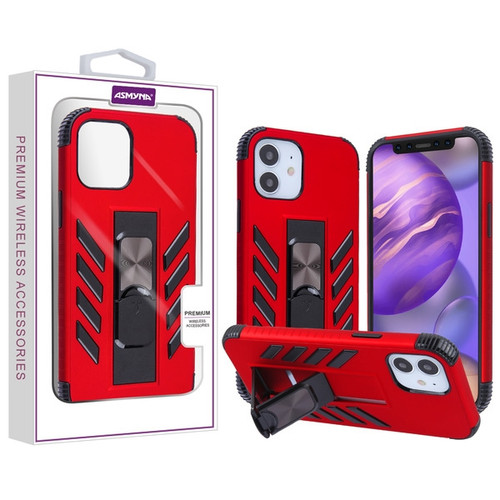 Asmyna Hybrid Case (with Stand) for Apple iPhone 12 mini (5.4) - Red / Black