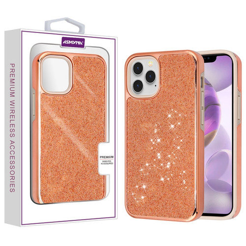 Asmyna Encrusted Rhinestones Hybrid Case for Apple iPhone 12 Pro Max (6.7) - Electroplated Rose Gold / Rose Gold