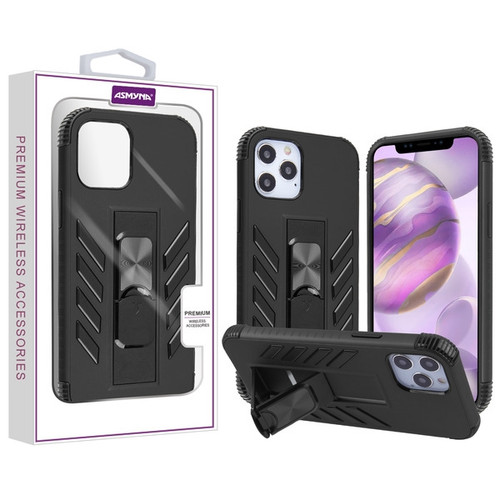 Asmyna Hybrid Case (with Stand) for Apple iPhone 12 Pro Max (6.7) - Black / Black