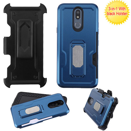 Asmyna Grip Stand Protector Cover Combo (with Black Holster)(with Card Wallet) for Lg K40 - Blue / Black