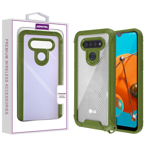 Asmyna Hybrid Case for Lg K51 - Transparent Clear Carbon Fiber Texture / Green