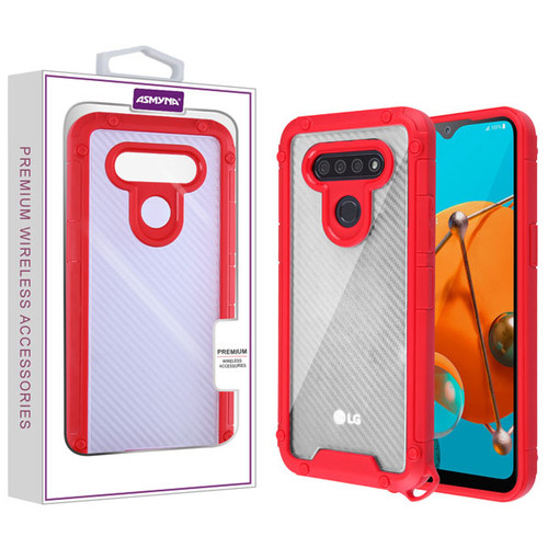 Asmyna Hybrid Case for Lg K51 - Transparent Clear Carbon Fiber Texture / Red