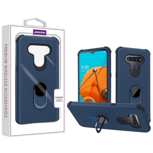 Asmyna Rubberized Hybrid Case (with Ring Stand) for Lg Reflect - Ink Blue / Black