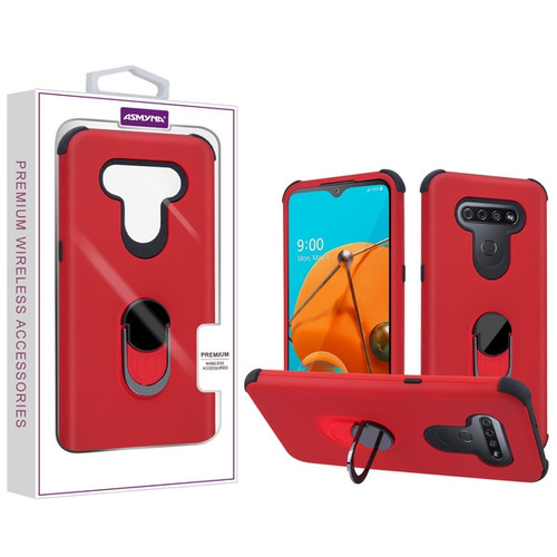 Asmyna Rubberized Hybrid Case (with Ring Stand) for Lg Reflect - Red / Black