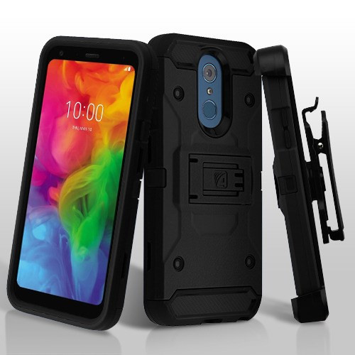 Asmyna Kinetic Hybrid Protector Cover Combo (with Black Holster) for Lg Q7+ - Black / Black