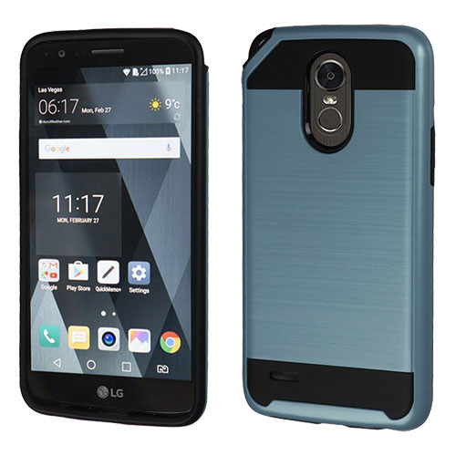 Asmyna Brushed Hybrid Protector Cover for Lg LS777 (Stylo 3) - Ink Blue / Black