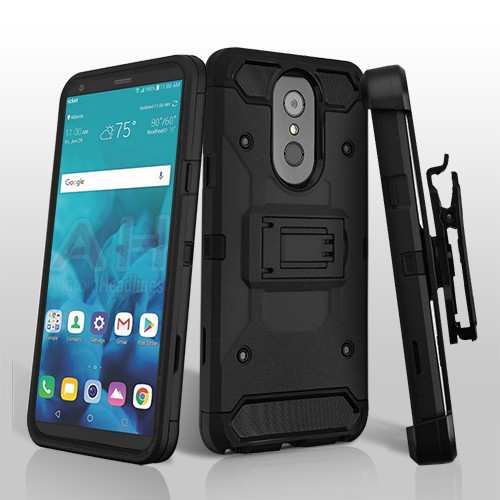 Asmyna Kinetic Hybrid Protector Cover Combo (with Black Holster) for Lg Stylo 4 - Black / Black