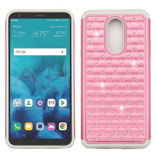 Asmyna FullStar Protector Cover for Lg Stylo 4 - Pearl Pink / Gray