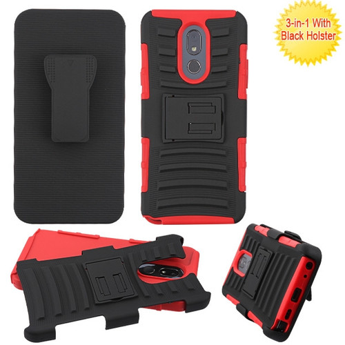 Asmyna Advanced Armor Stand Protector Cover Combo (with Black Holster) for Lg Stylo 5 - Black / Red