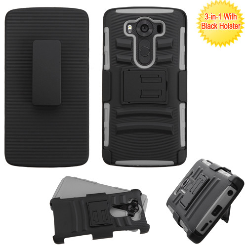 Asmyna Advanced Armor Stand Protector Cover Combo (with Black Holster) for Lg H901 (V10) - Black / Gray