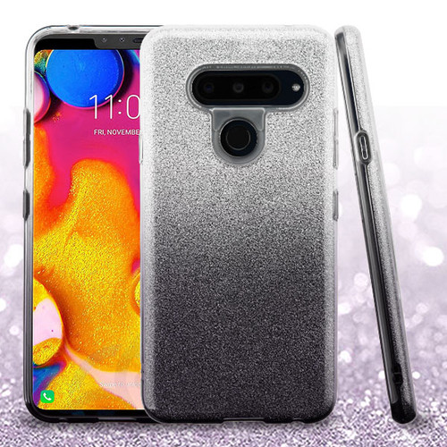 Asmyna Gradient Glitter Hybrid Protector Cover for Lg V40 ThinQ - Dark Lilac