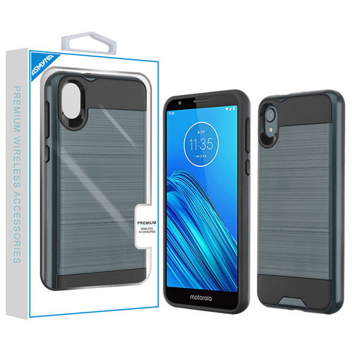 Asmyna Brushed Hybrid Protector Cover for Motorola Moto E6 - Ink Blue / Black