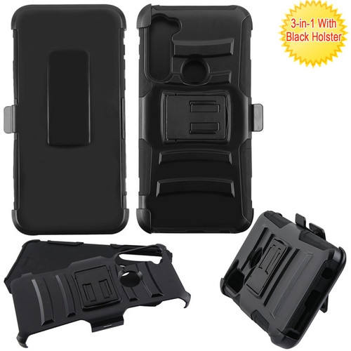 Asmyna Advanced Armor Stand Protector Cover Combo (with Black Holster) for Motorola Moto G Stylus - Black / Black