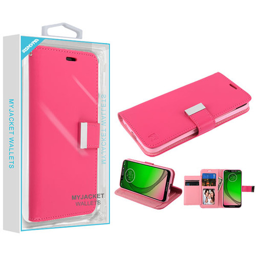 Asmyna MyJacket Wallet Xtra Series for Motorola Moto G7 Play - Hot Pink / Pink