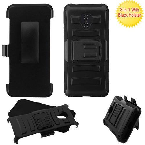 Asmyna Advanced Armor Stand Protector Cover Combo (with Black Holster) for Alcatel 1X Evolve - Black / Black