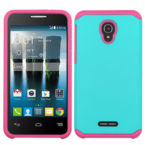 Asmyna Astronoot Protector Cover for Alcatel Fierce 4 - Teal Green / Hot Pink