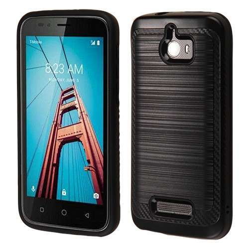 Asmyna Brushed Hybrid Protector Cover (with Carbon Fiber Accent) for Coolpad 3632 (Defiant) - Black / Black