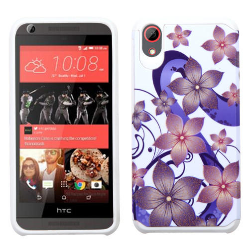 Asmyna Advanced Armor Protector Cover for Htc Desire 626 - Purple Hibiscus Flower Romance / White