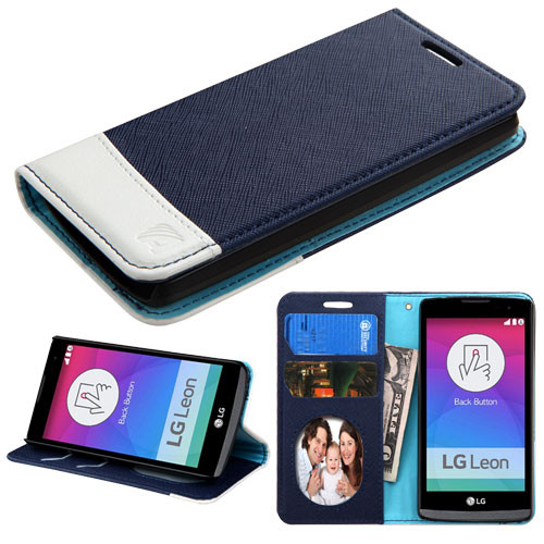 Asmyna MyJacket wallet (with card slot) for Lg C40 (Leon)/H320 - Blue / White