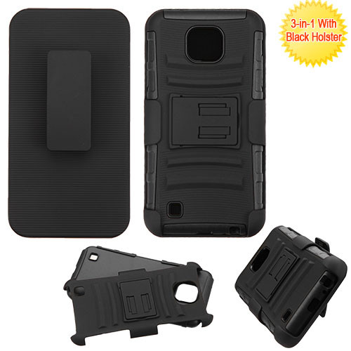 Asmyna Advanced Armor Stand Protector Cover Combo (with Black Holster) for Lg K580 (X Cam) - Black / Black