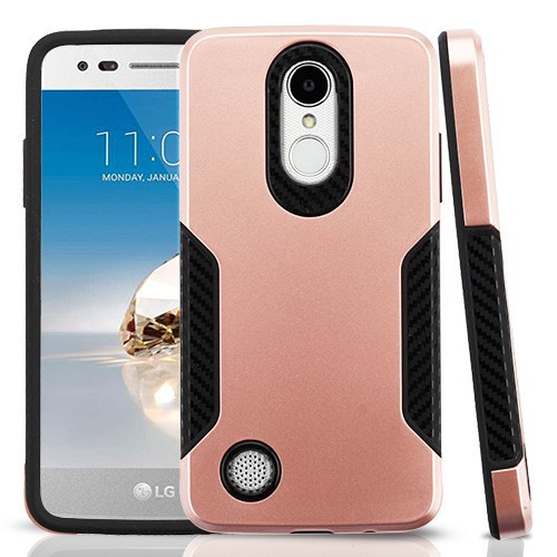 Asmyna Hybrid Protector Cover for Lg L58VL (Rebel 2) - Rose Gold / Black