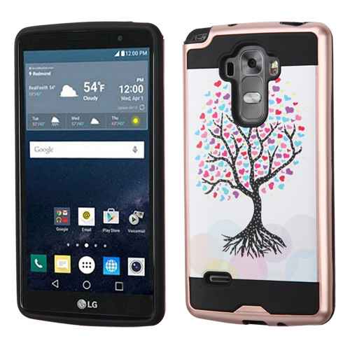 Asmyna Brushed Hybrid Protector Cover for Lg LS770 (G Stylo) - Love Tree(Rose Gold) / Black