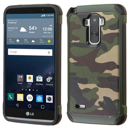 Asmyna Astronoot Protector Cover for Lg LS770 (G Stylo) - Camouflage Green Backing / Black