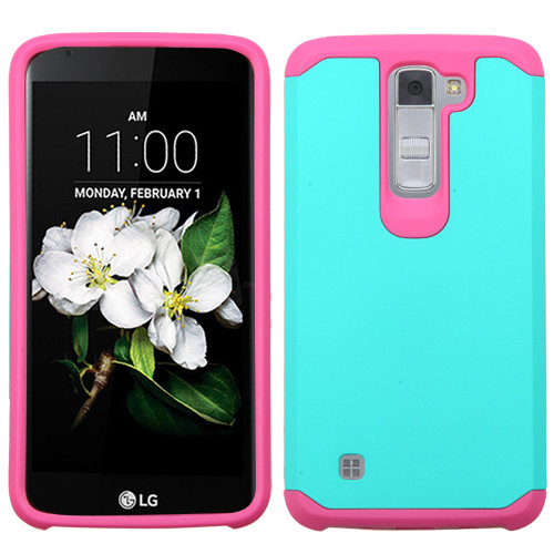 Asmyna Astronoot Protector Cover for Lg MS330 (K7) - Teal Green / Hot Pink