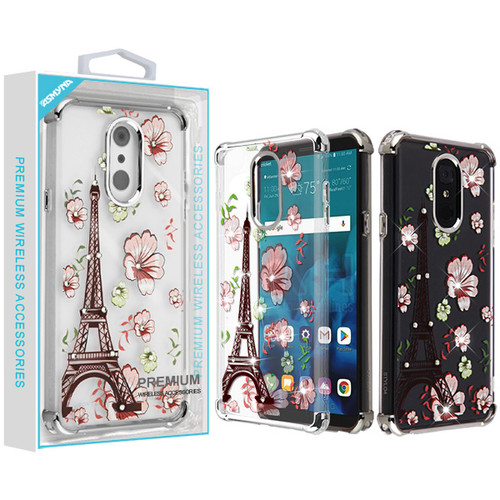 Asmyna Diamante Klarion Candy Skin Cover for Lg Stylo 4 Plus - Electroplating Silver / Eiffel Tower in the Season of Blooming