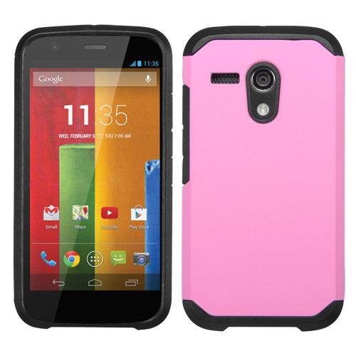 Asmyna Astronoot Protector Cover for Motorola Moto G - Pink / Black