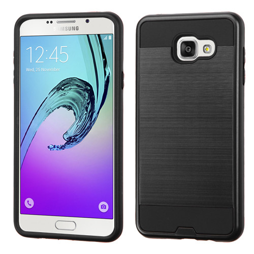 Asmyna Brushed Hybrid Protector Cover for Samsung A710 Galaxy A7 (2016) - Black / Black