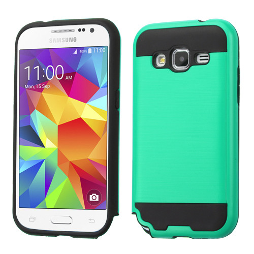 Asmyna Brushed Hybrid Protector Cover for Samsung G360 (Prevail LTE) - Green / Black