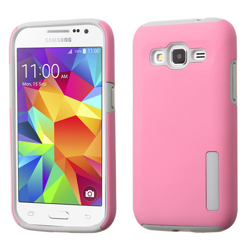 Asmyna Hybrid Protector Cover for Samsung G360 (Prevail LTE) - Pink / Gray