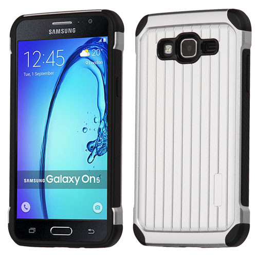 Asmyna Suitcase Hybrid Protector Cover for Samsung G550 (On5) - Silver / Black