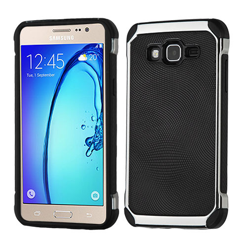 Asmyna Astronoot Protector Cover for Samsung G550 (On5) - Black Dots(Silver Plating) / Black