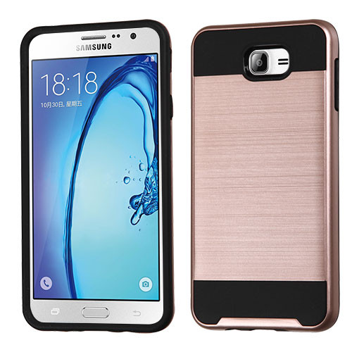 Asmyna Brushed Hybrid Protector Cover for Samsung Galaxy On7 (2016) - Rose Gold / Black