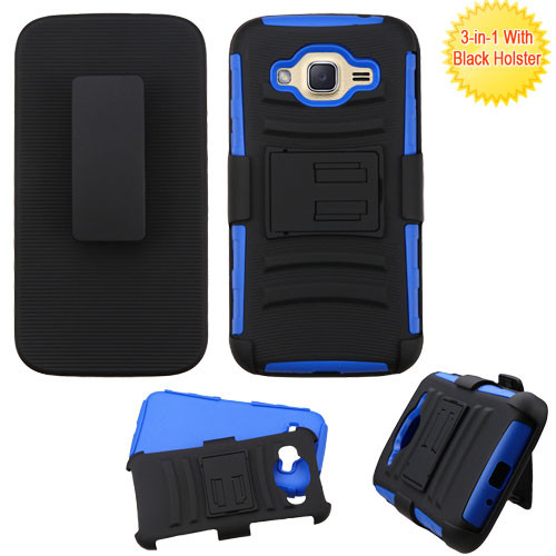 Asmyna Advanced Armor Stand Protector Cover Combo (with Black Holster) for Samsung J210 (Galaxy J2 (2016)) - Black / Dark Blue