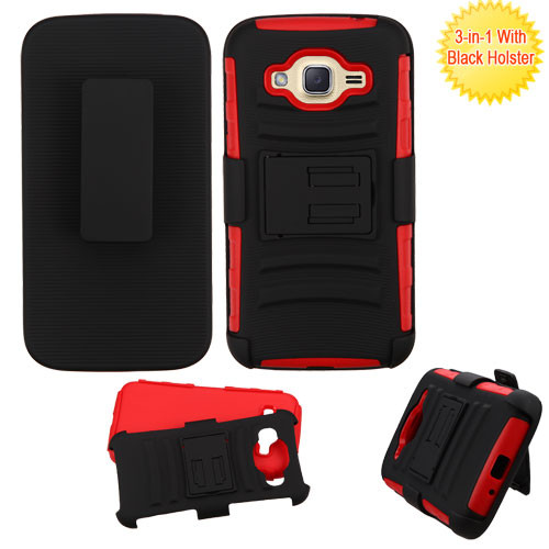 Asmyna Advanced Armor Stand Protector Cover Combo (with Black Holster) for Samsung J210 (Galaxy J2 (2016)) - Black / Red