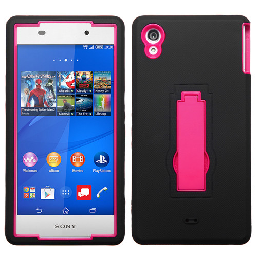 Asmyna Symbiosis Stand Protector Cover for Sony ericsson 6708 (XPERIA Z3v) - Hot Pink / Black