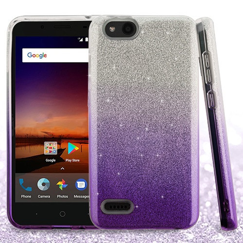 Asmyna Gradient Glitter Hybrid Protector Cover for Zte N9137 (Tempo X) - Purple