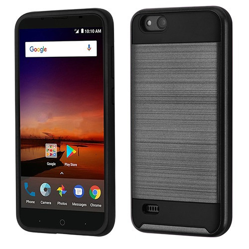 Asmyna Brushed Hybrid Protector Cover for Zte N9137 (Tempo X) - Black / Black