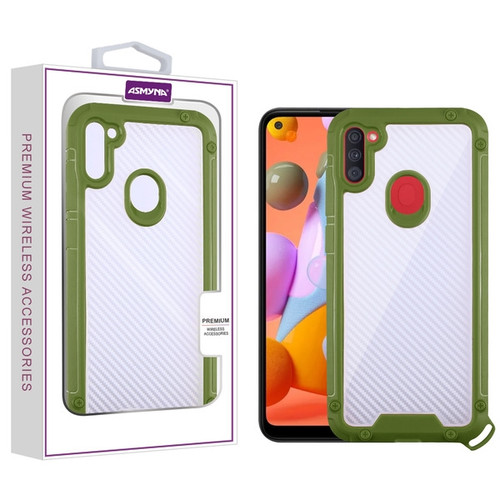 Asmyna Hybrid Case for Samsung Galaxy A11 - Transparent Clear Carbon Fiber Texture / Green