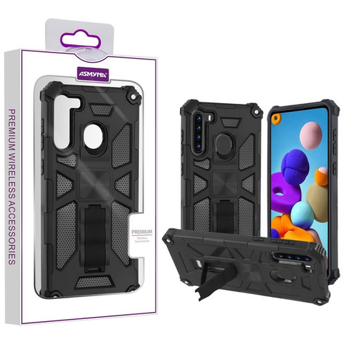 Asmyna Sturdy Hybrid Protector Cover (with Stand) for Samsung Galaxy A21 - Black / Black
